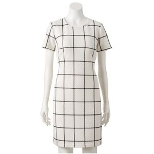 Sharagano | Quilted printed Dress | black white